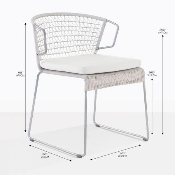 sophia white wicker dining arm chair