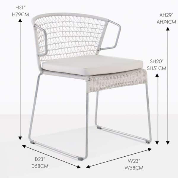 sophia white wicker dining chair