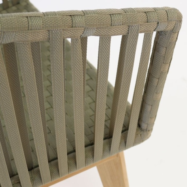 willow dining chair strapping closeup view