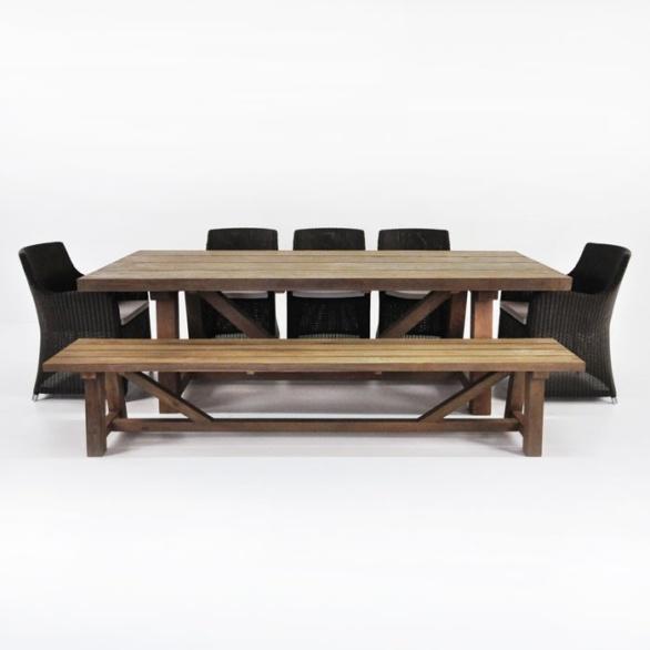 Trestle Table, Bench And 5 Moni Chairs Set 0. U201c