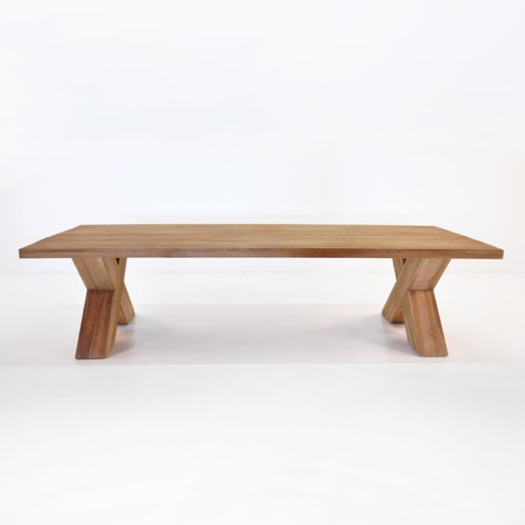 ... Cross Reclaimed Teak Outdoor Dining Table Side View. U201c