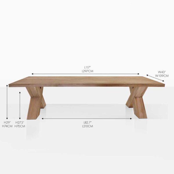 cross leg reclaimed teak outdoor dining table