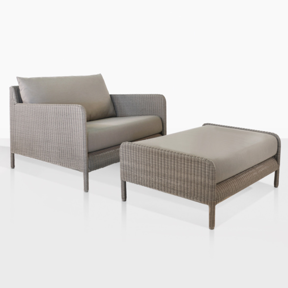 Zambezi Brown Wicker Chair And Ottoman