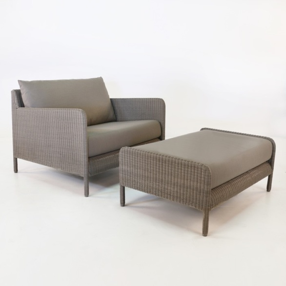 Zambezi Wicker Outdoor Club Chair and Ottoman (Pebble)-0
