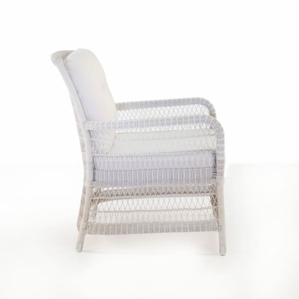 white wicker outdoor chair