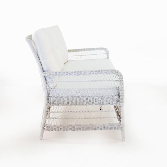outdoor wicker white sofa