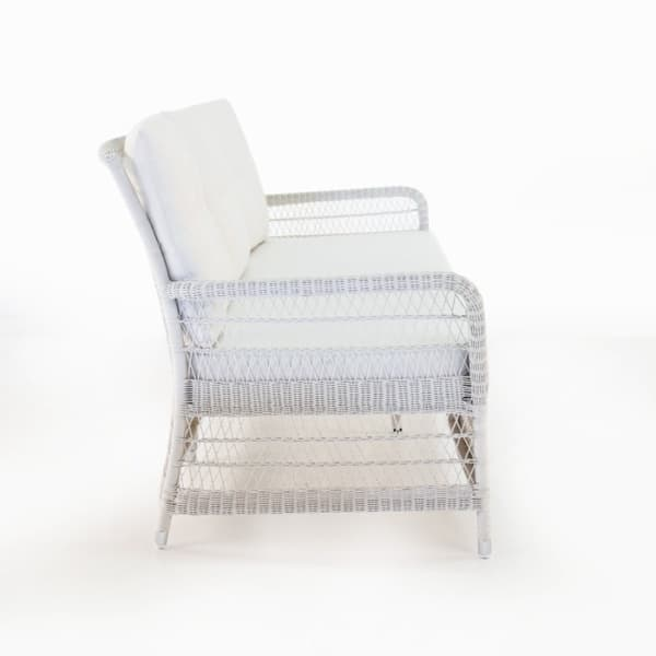 outdoor wicker white sofa