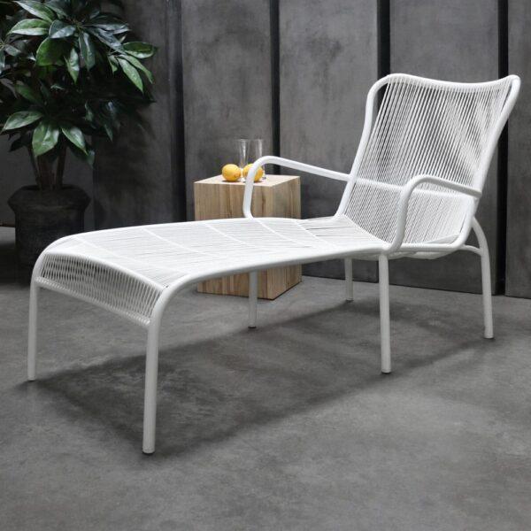 Luxe White Aluminum Sun Lounger