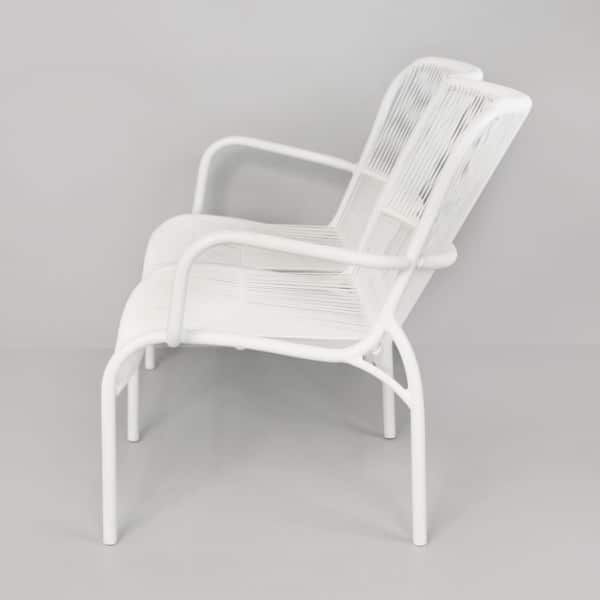 white loveseat side view