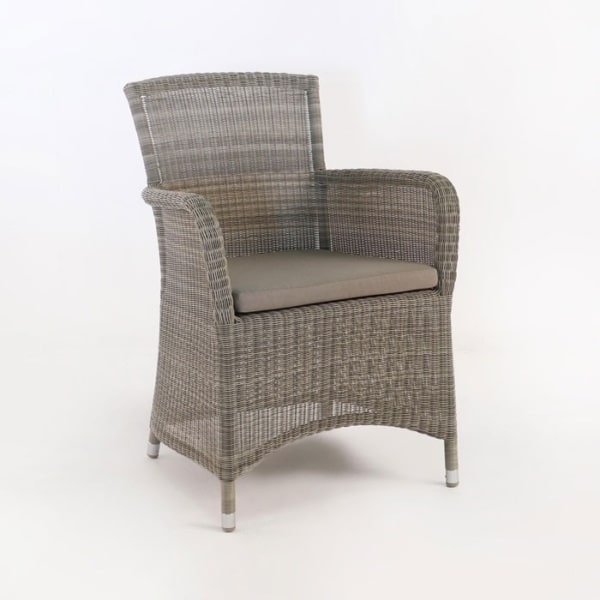 outdoor wicker dining chair with sunbrella cushion
