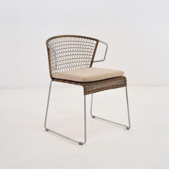 wicker and steel dining chair