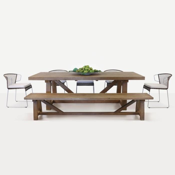 Reclaimed Teak Trestle Table and Sophia Dining Set-0