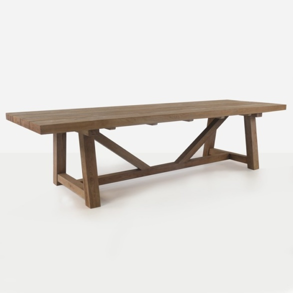 large recycled teak trestle table