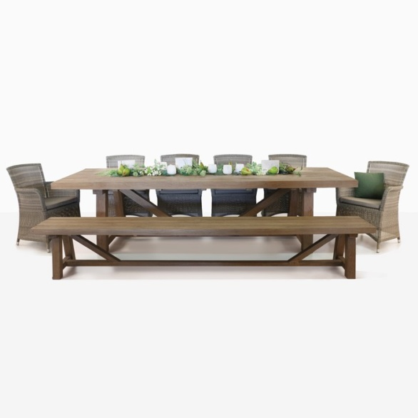 Reclaimed Teak Trestle Dining Set With Wicker Chairs-0