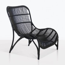 Elle Curvy Outdoor Wicker Chair in Black