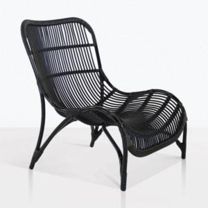 Elle Curvy Outdoor Wicker Chair in Black