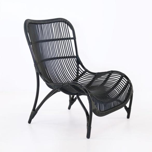 modern outdoor black wicker chair