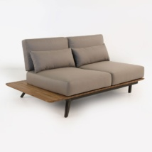 Platform Reclaimed Teak Loveseat Daybed Right-0