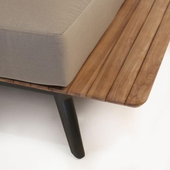 recycled teak sofa closeup