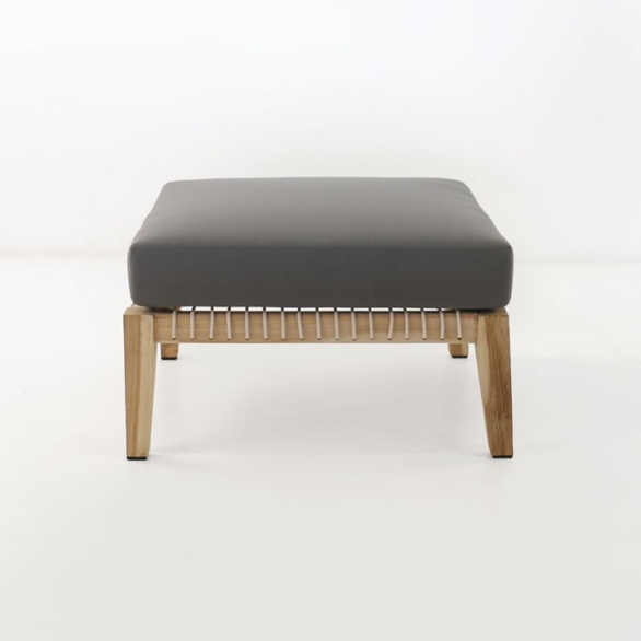 ottoman with gray cushion front facing