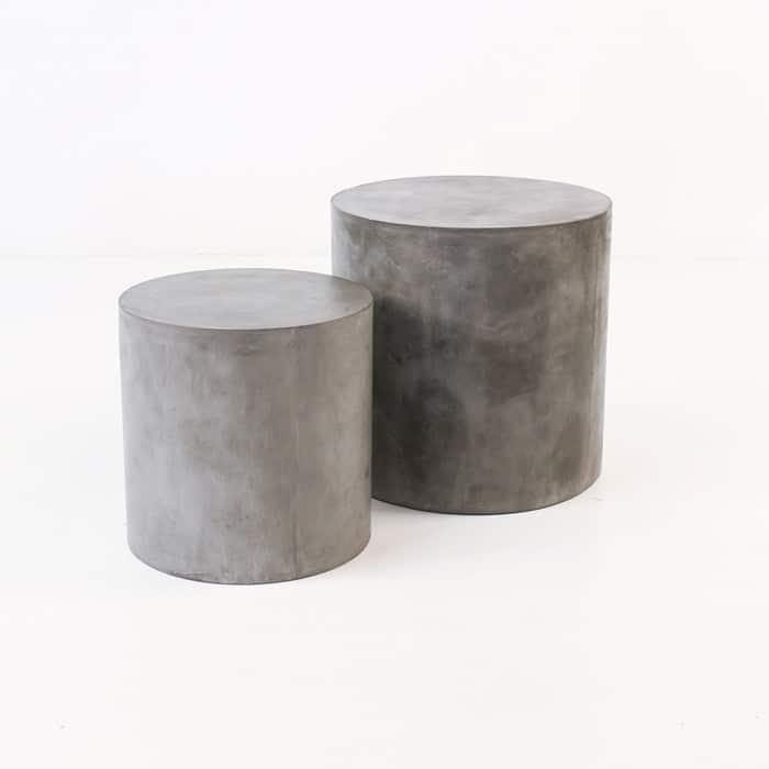 Blok Concrete Round Side Table Teak Warehouse