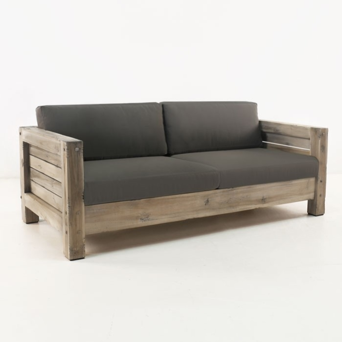 Lodge distressed teak outdoor loveseat teak warehouse for Sofa exterior madera