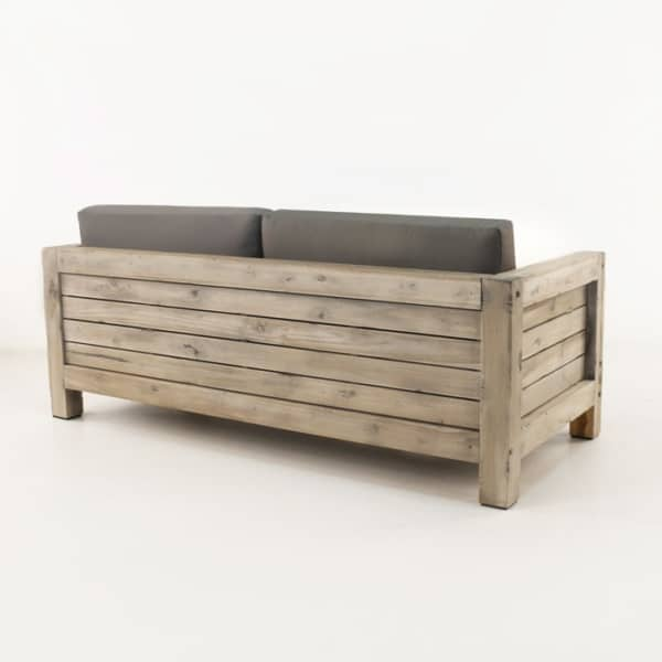 teak loveseat with coal cushions back view