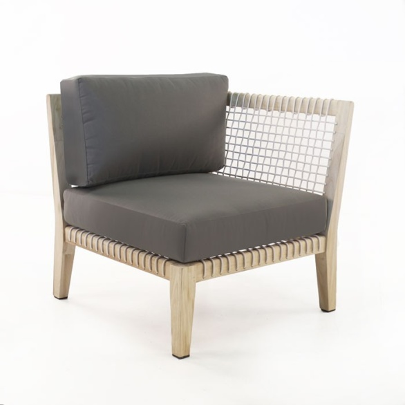 outdoor corner chair with gray cushions