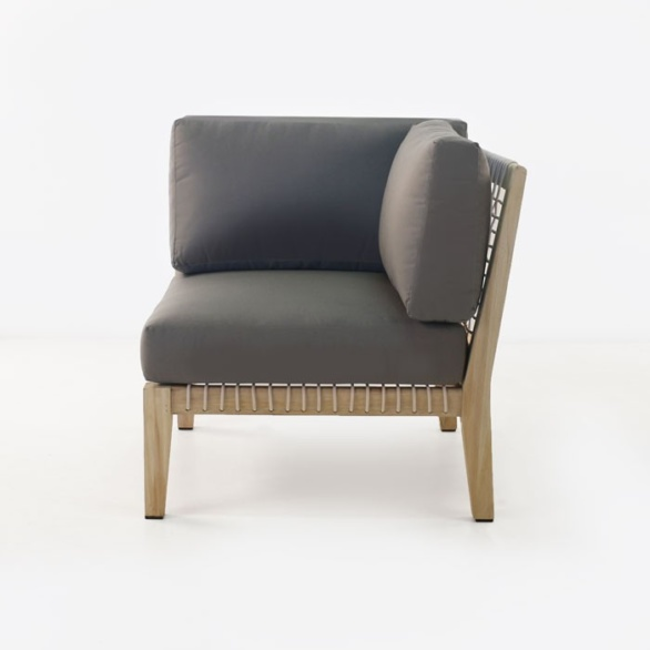 outdoor corner chair with gray cushions front facing