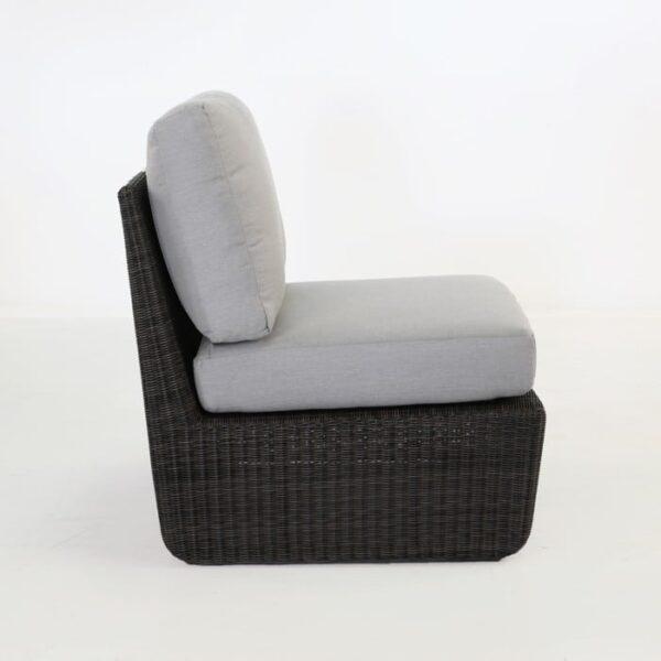 side view black wicker chair