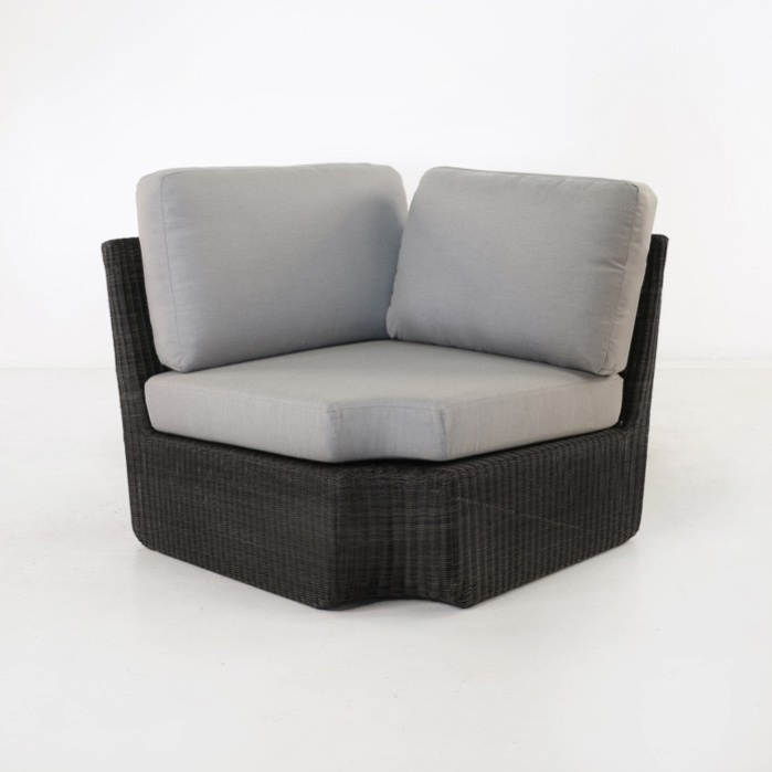 Brooklyn Outdoor Wicker Sectional Corner Chair (Charcoal)-0