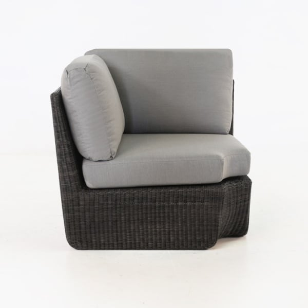 black wicker corner chair