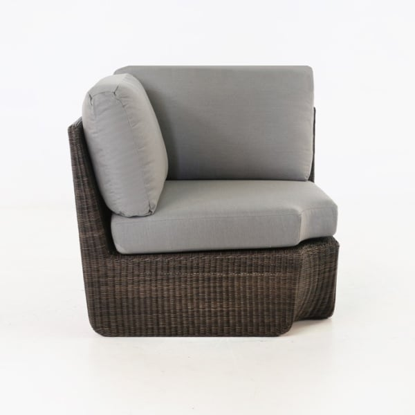 brown wicker corner chair