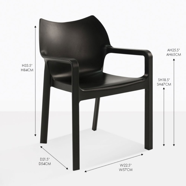 cape black outdoor dining chair