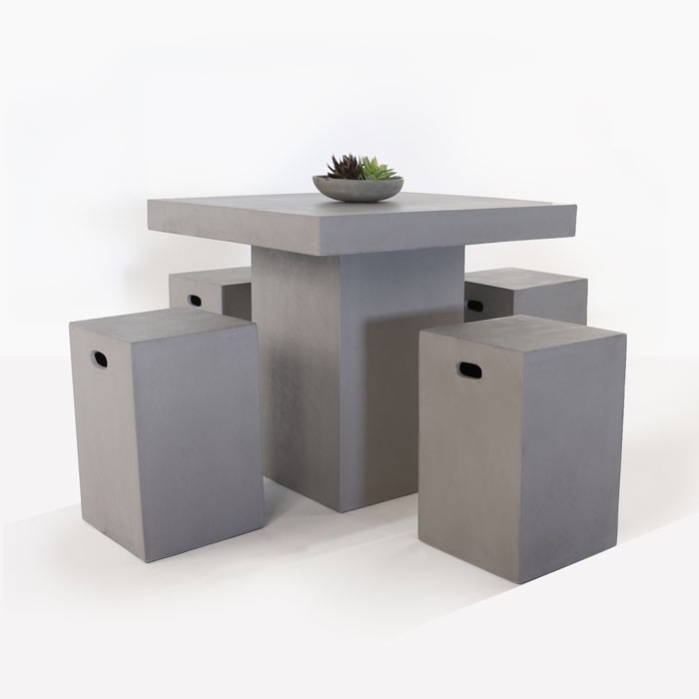 Raw Concrete Outdoor Counter Height Bar Set-0