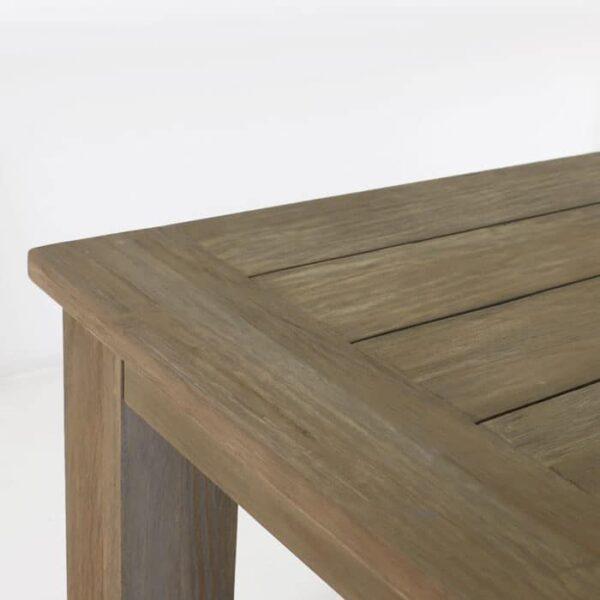 reclaimed teak dining table closeup image