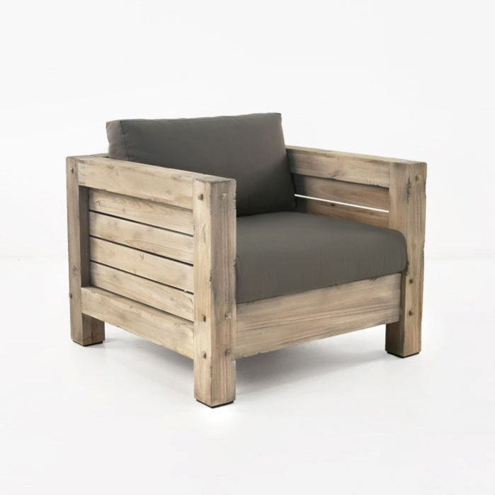 Lodge Outdoor Distressed Teak Club Chair-0