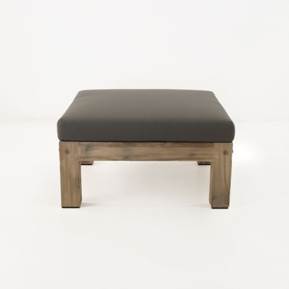 teak ottoman with coal cushion