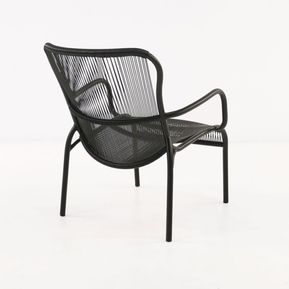 black aluminum chair side back view