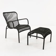Luxe Outdoor Chair and Ottoman (Black)-0