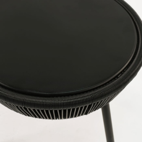 black side table top view
