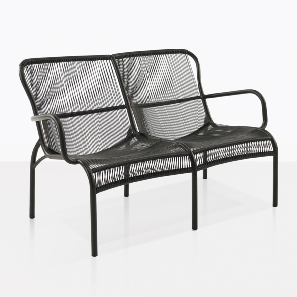 Luxe Black Wicker Two Seat Bench