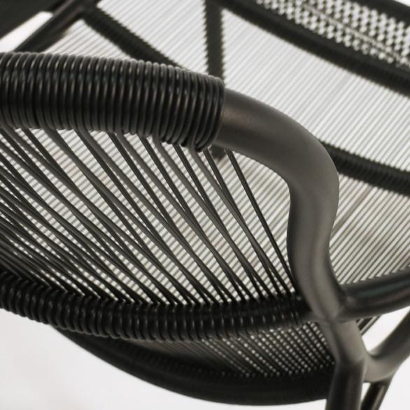 Black sofa close up