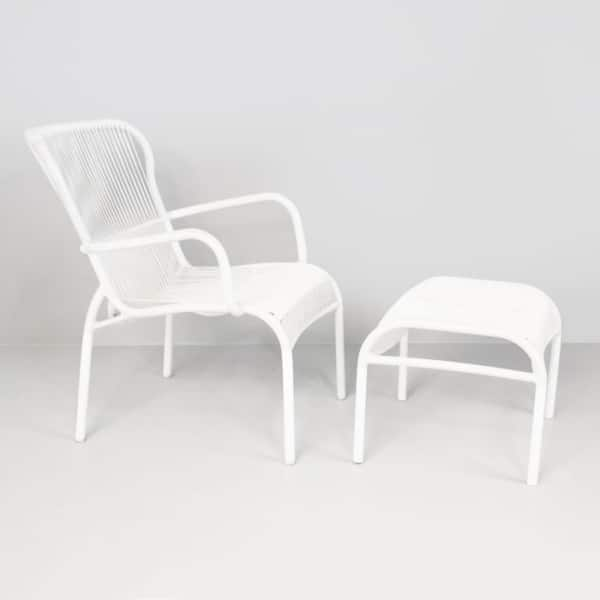 Luxe Outdoor Chair and Ottoman (White)-0