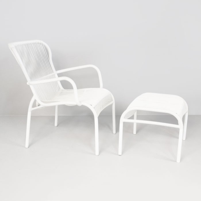 Beau Luxe Outdoor Chair And Ottoman (White) 0