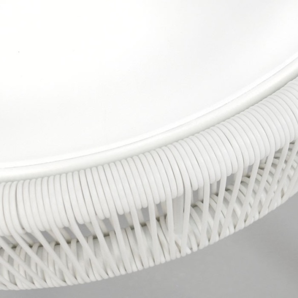 Outdoor Woven Table Accent White close up
