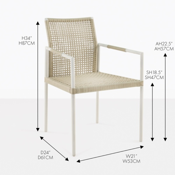moderno wicker arm dining chair