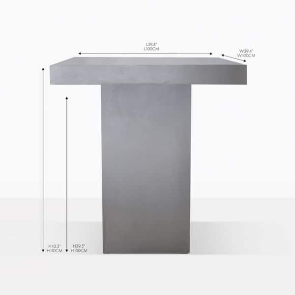 raw concrete bar square table