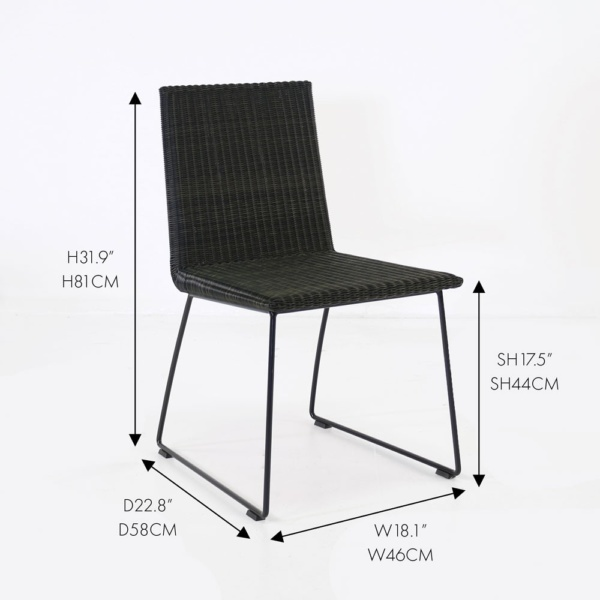 retro wicker outdoor black dining chair