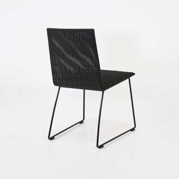 brown wicker dining chair back